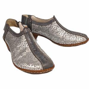 Rieker silver grey open back shoes sz 7